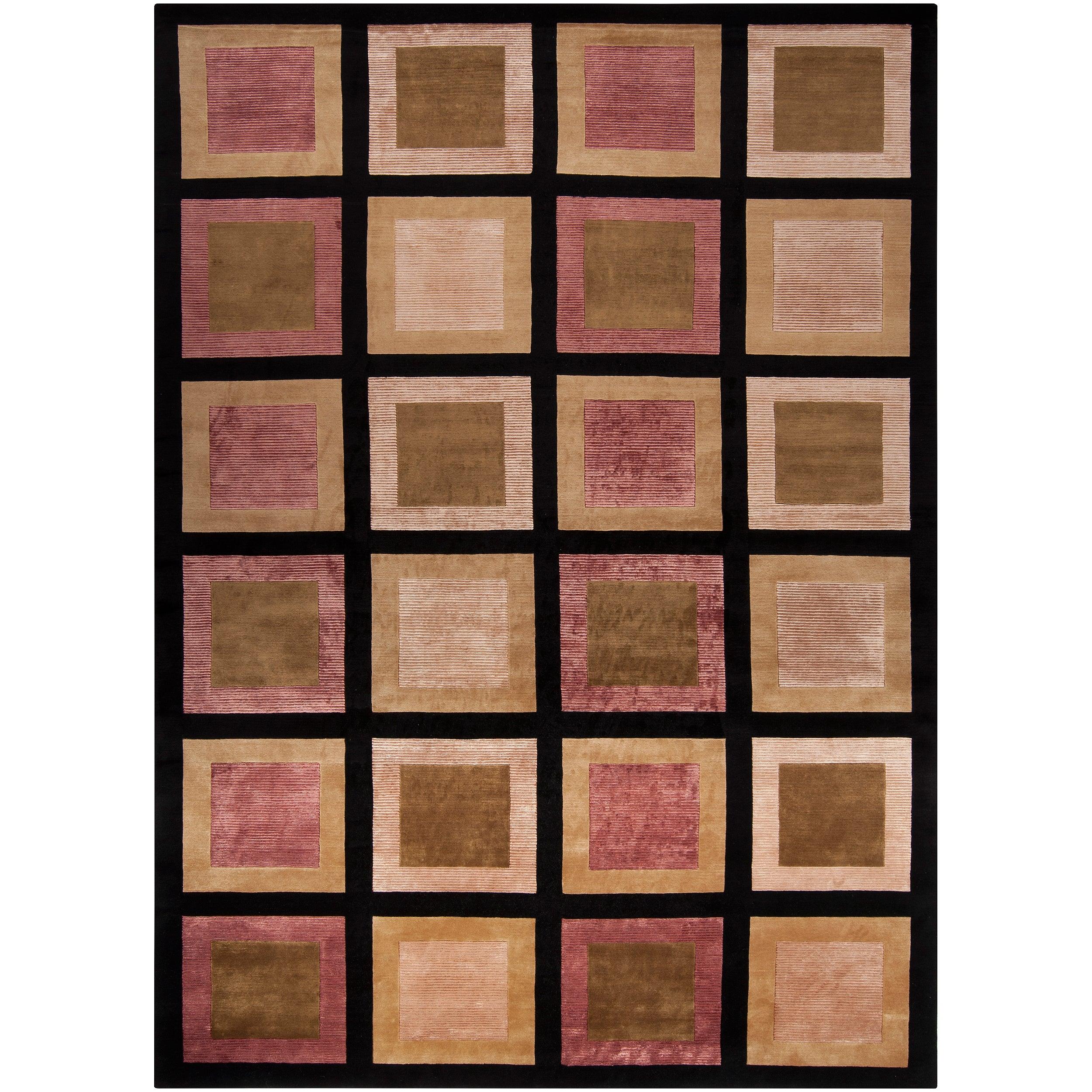 Hand-knotted Multicolored La Crosse Geometric Semi-Worsted Geometric Squares Wool Area Rug - 9' x 13'