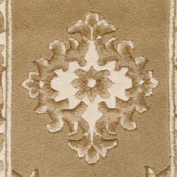 Hand-knotted Gold Grante Wool Rug (2'4 x 4')