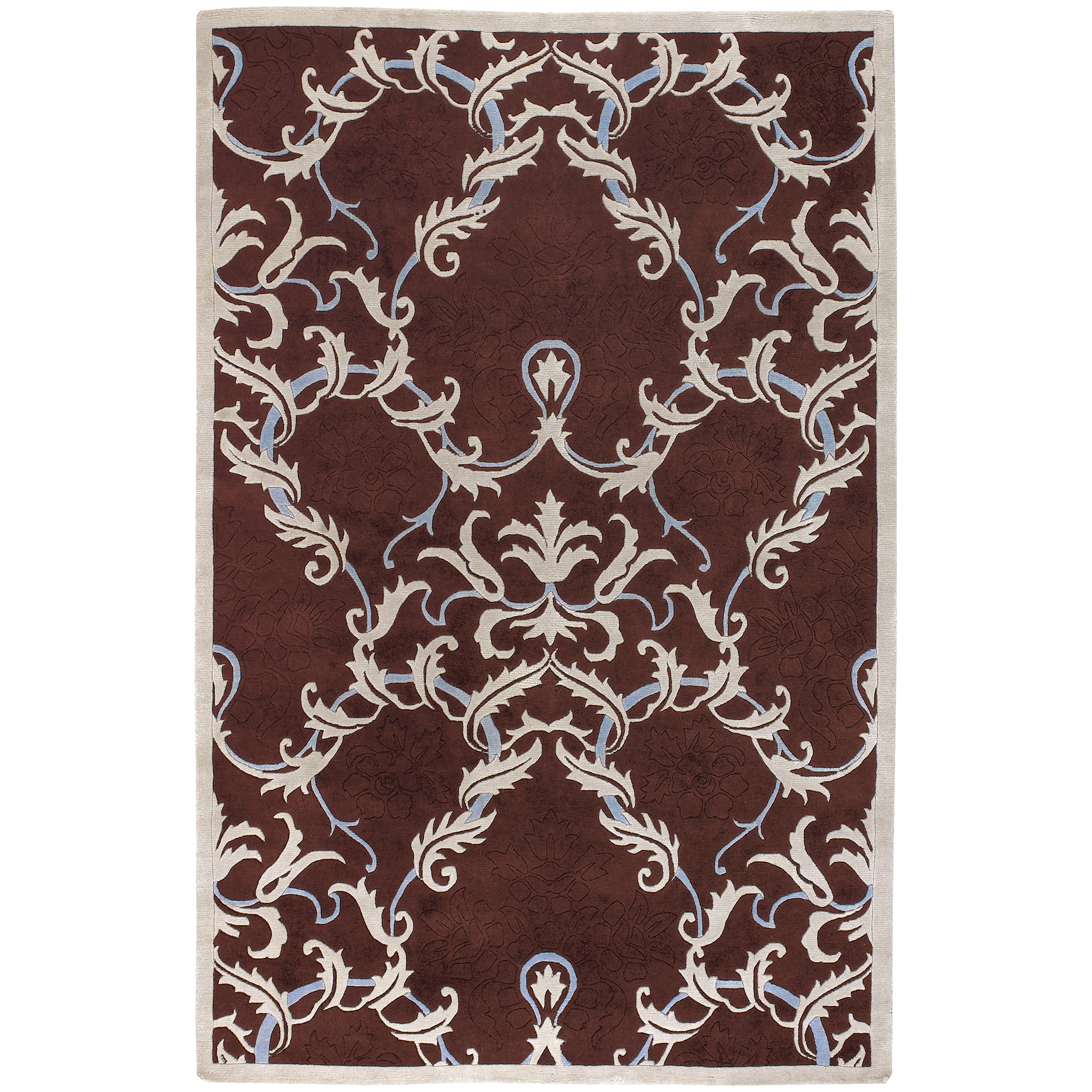 Hand-knotted Multicolored La Crosse Damask Print Wool Rug (5' x 8')