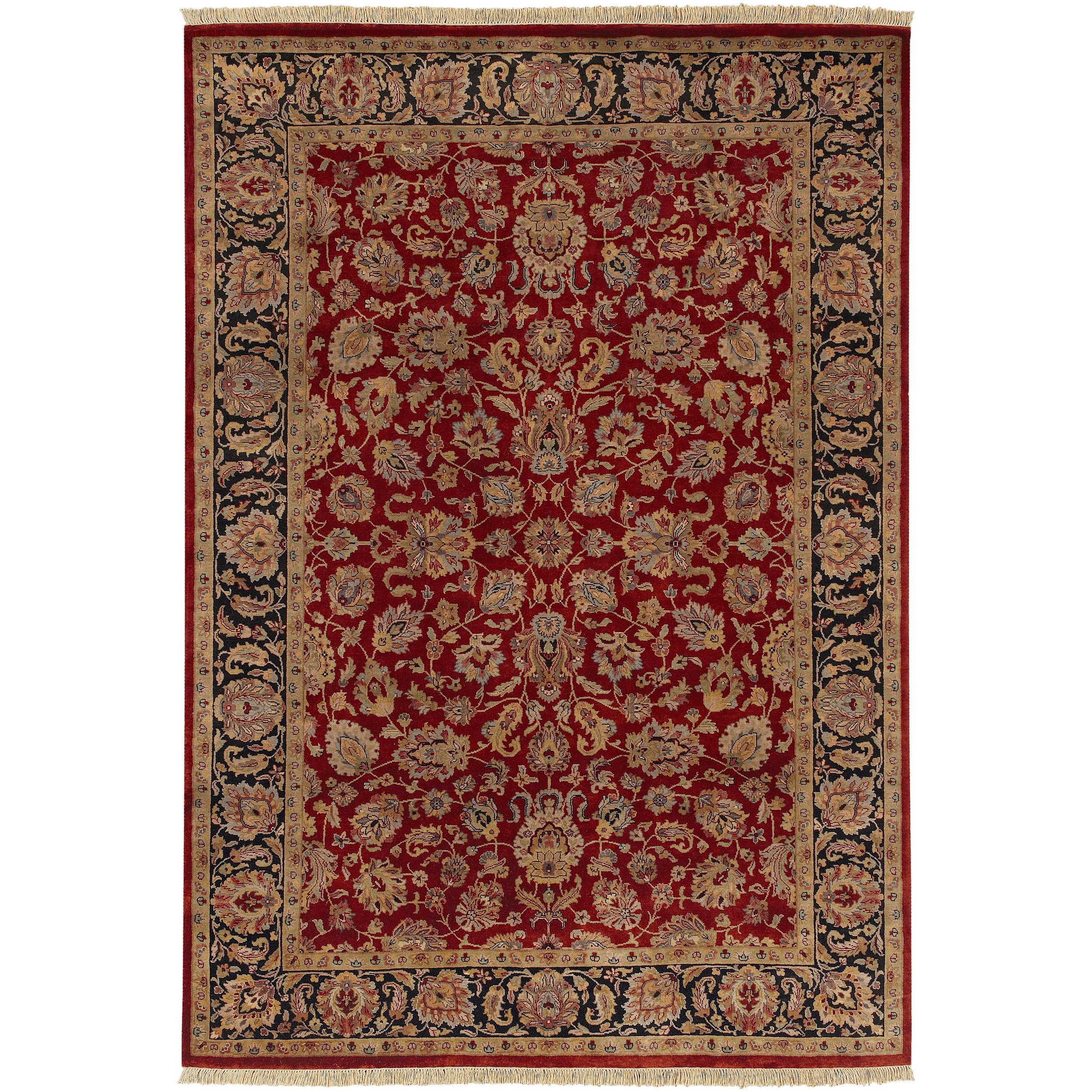 Hand-knotted Multicolored Burgundy La Crosse Semi-Worsted New Zealand Wool Area Rug - 5'6 x 8'6