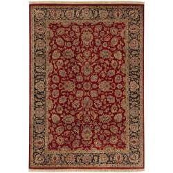 Hand-knotted Multicolored Burgundy La Crosse Semi-Worsted New Zealand Wool Rug (5'6 x 8'6)