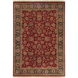 Hand-knotted Multicolored Burgundy La Crosse Semi-Worsted New Zealand Wool Area Rug - 5'6 x 8'6 - Thumbnail 0