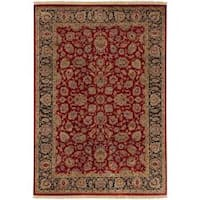 Hand-knotted Multicolored Burgundy La Crosse Semi-Worsted New Zealand Wool Area Rug (5'6 x 8'6)