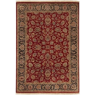 "Hand-knotted Multicolored Burgundy La Crosse Semi-Worsted New Zealand Wool Area Rug - 5'6"" x 8'6""/Surplus"