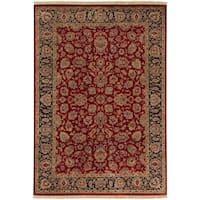 "Hand-knotted Multicolored Burgundy La Crosse Semi-Worsted New Zealand Wool Area Rug - 5'6"" x 8'6"""