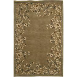 Hand-Knotted Tan La Crosse Semi-Worsted New Zealand Wool Indoor Rug (5' x 8')