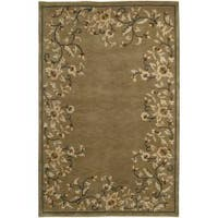 Hand-Knotted Tan La Crosse Semi-Worsted New Zealand Wool Indoor Area Rug - 5' x 8'