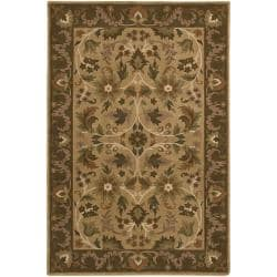 Hand-knotted Tan La Crosse Semi-Worsted New Zealand Wool Rug (5' x 8')