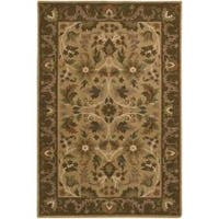 Hand-knotted Tan La Crosse Semi-Worsted New Zealand Wool Area Rug - 5' x 8'