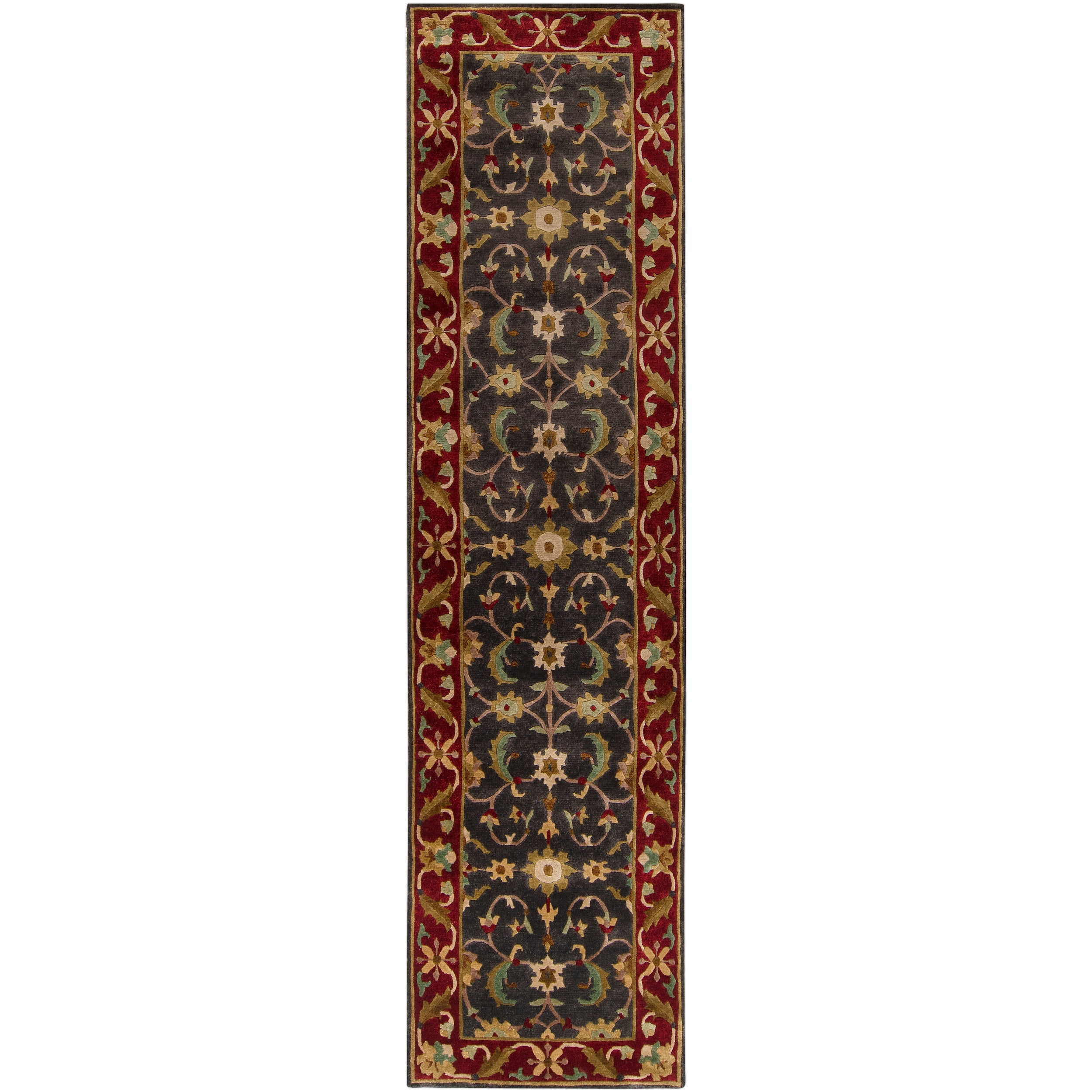"""Traditional Hand-Knotted Multicolored Adams Semi-Worsted New Zealand Wool Rug (2'6"""" x 10')"""