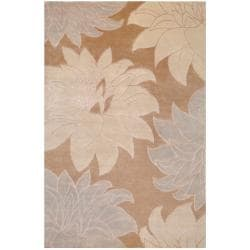 RecBrowngle Hand-Knotted Multicolored La Crosse Semi-Worsted New Zealand Wool Rug (5' x 8')
