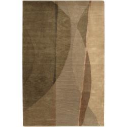 Hand-knotted Multicolored La Crosse Geometric Semi-Worsted Wool Rug (5' x 8')