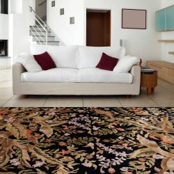 Hand-knotted Multicolored La Crosse Geometric Semi-Worsted Wool Floral Rug (8' x 11') - Thumbnail 1