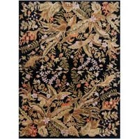 Hand-knotted Multicolored La Crosse Geometric Semi-Worsted Wool Floral Area Rug - 8' x 11'