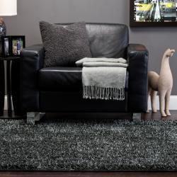 Hand-woven Gray Ferta Soft Shag Rug (8' x 10')