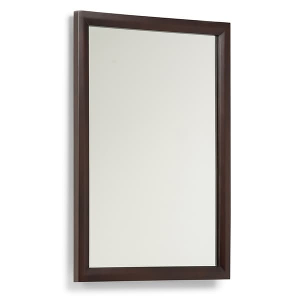 WYNDENHALL Oxford 22 inch x 30 inch Bath Vanity Décor Mirror in Dark espresso Brown
