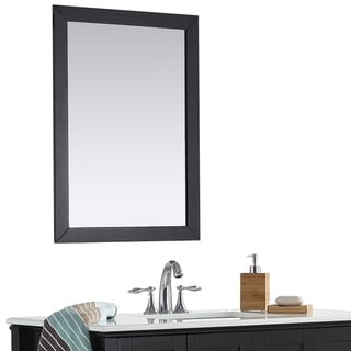 WYNDENHALL Windham 22 x 30 Black Bath Vanity Decor Mirror - 22 W x 1 D x 30 H