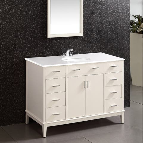 WYNDENHALL Oxford 48 inch Contemporary Bath Vanity in Soft White with White Engineered Quartz Marble Top