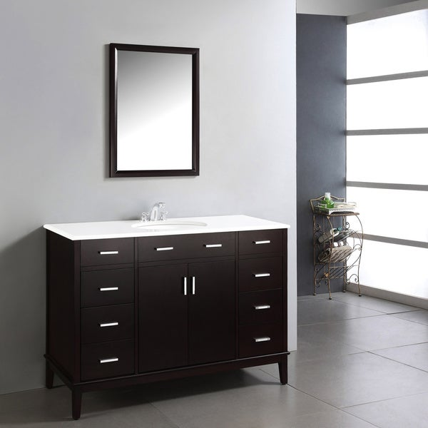 WYNDENHALL Oxford Dark Espresso Brown 48-inch Bathroom Vanity with White Quartz Marble Top