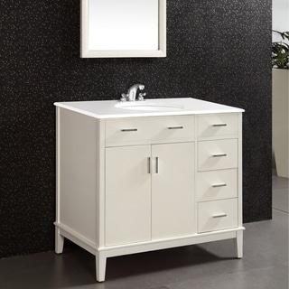 WYNDENHALL Oxford Oxford White 2-door 36-inch Bath Vanity Set with White Quartz Marble Top