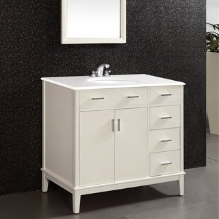 WYNDENHALL Oxford 36 inch Contemporary Bath Vanity in Soft White with White Engineered Quartz Marble Top