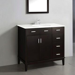WYNDENHALL Oxford Dark Espresso Brown 2-door 36-inch Bath Vanity with White Quartz Marble Top