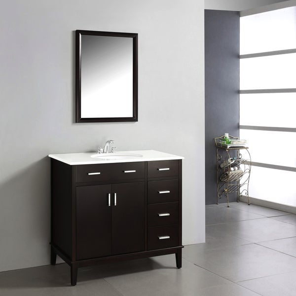 espresso brown 2 door 36 inch bath vanity with white quartz marble top