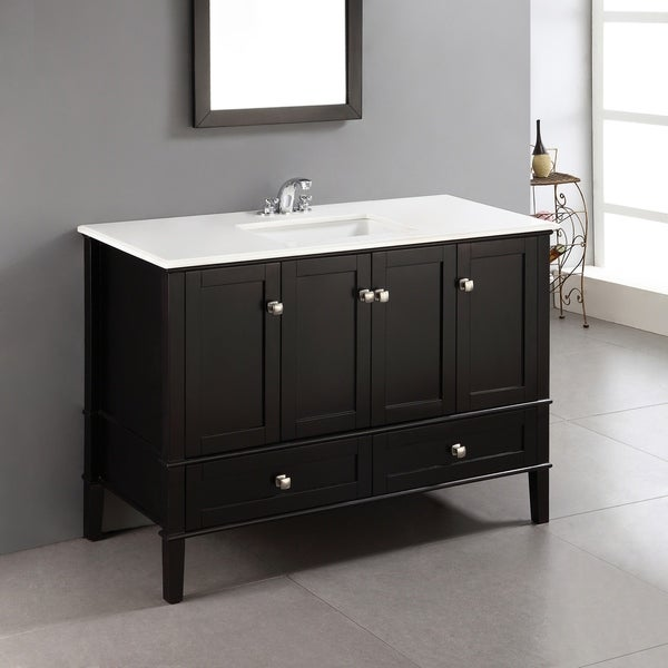 Shop WYNDENHALL Windham Black 2-door 48-inch Bath Vanity ...