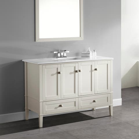 WYNDENHALL Windham 48 inch Contemporary Bath Vanity in Black with White Engineered Quartz Marble Top