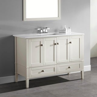 WYNDENHALL Windham Soft White 48-inch 2-door 2-drawer Bath Vanity with White Quartz Marble Top