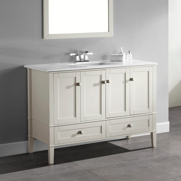 Shop wyndenhall windham soft white 48 inch 2 door 2 drawer - 48 inch white bathroom vanity with top ...