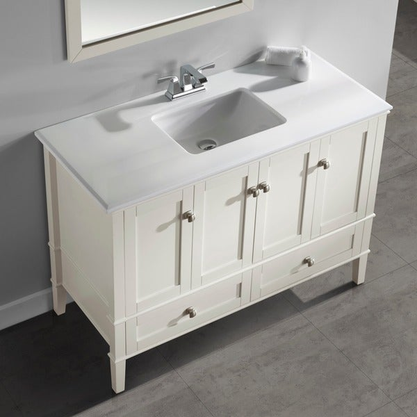 WYNDENHALL Windham Soft White 48 Inch 2 Door 2 Drawer Bath Vanity With  White Quartz Marble Top   Free Shipping Today   Overstock.com   14311908