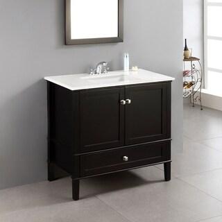 wyndenhall windham black 36inch 2door bath vanity set with bottom drawer and