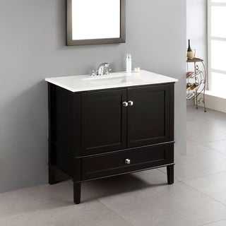 WYNDENHALL Windham Black 36-inch 2-door Bath Vanity Set with Bottom Drawer and White Quartz Marble Top