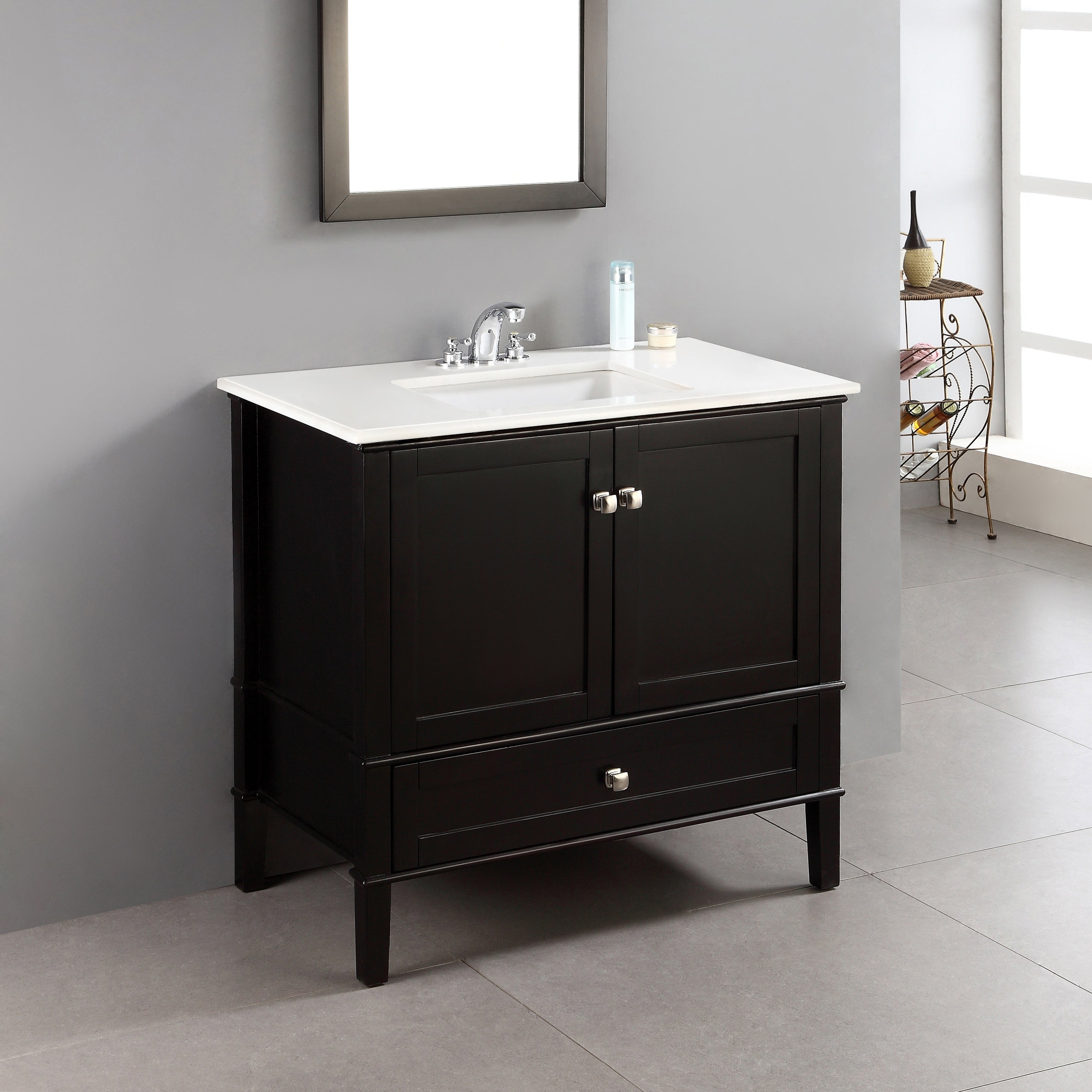 Wyndenhall Windham 36 Inch Contemporary Bath Vanity In Black With White Engineered Quartz Marble Top Overstock 6771710