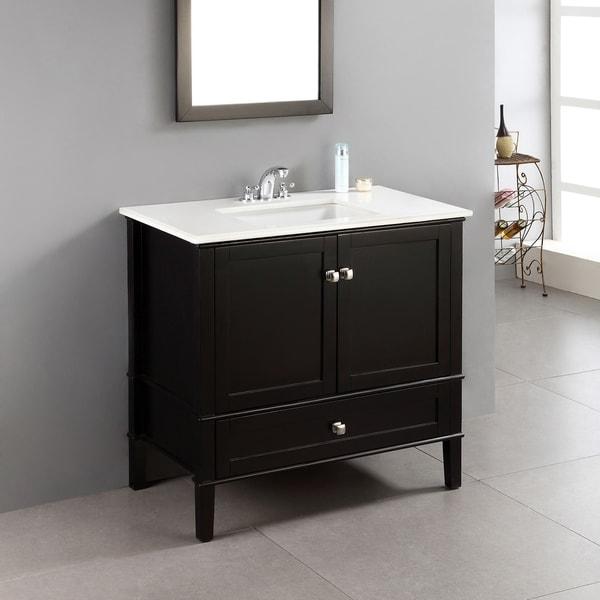 WYNDENHALL Windham Black 36 Inch 2 Door Bath Vanity Set With Bottom Drawer  And