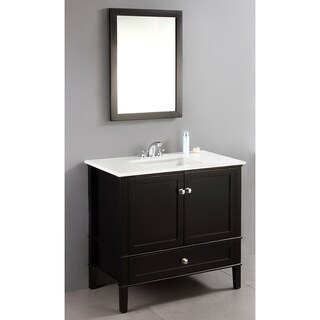 WYNDENHALL Windham Black 36-inch 2-door Bath Vanity Set with Bottom Drawer and White Quartz Marble Top