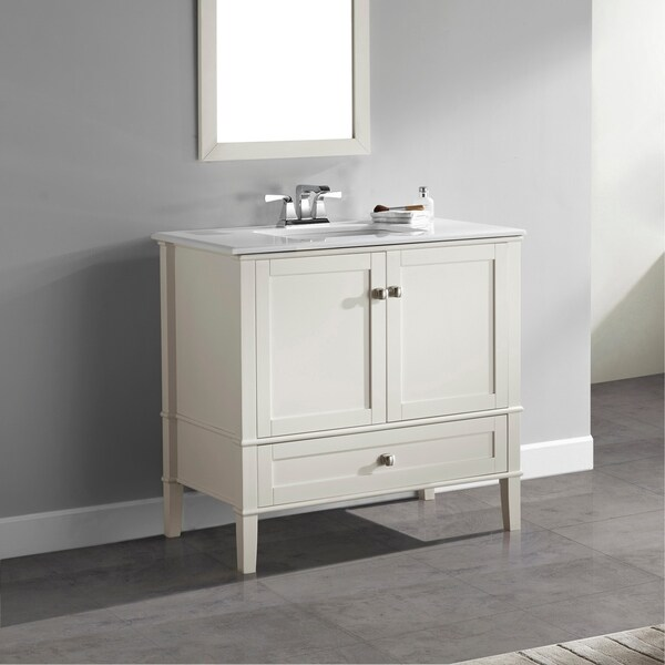 WYNDENHALL Windham 36 inch Contemporary Bath Vanity in Soft White with White Engineered Quartz Marble Top