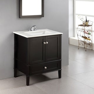 WYNDENHALL Windham Black 30-inch 2-door Bath Vanity Set with Bottom Drawer and White Marble Top
