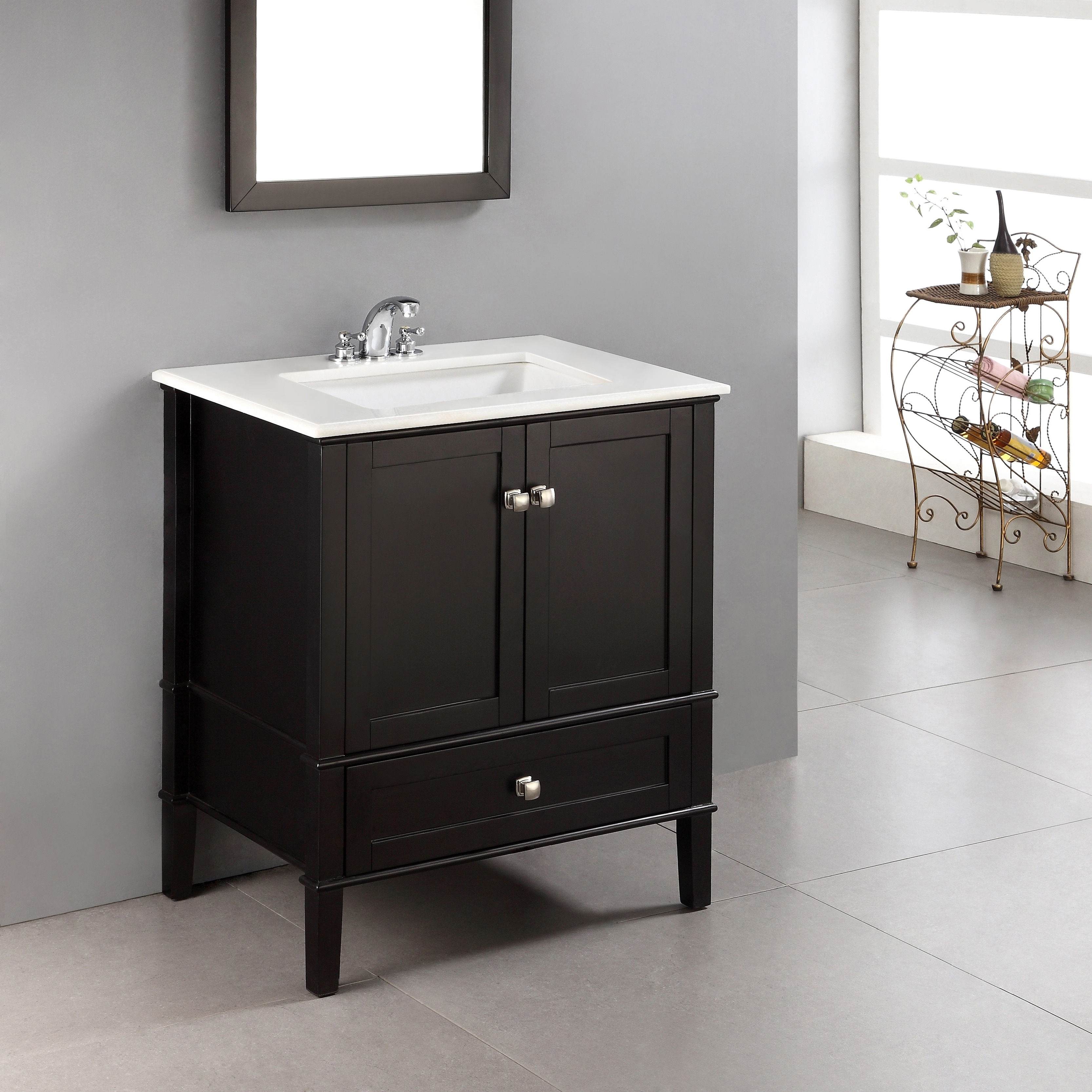 Shop Wyndenhall Windham 30 Inch Contemporary Bath Vanity In Black With White Engineered Quartz Marble Top Overstock 6771712