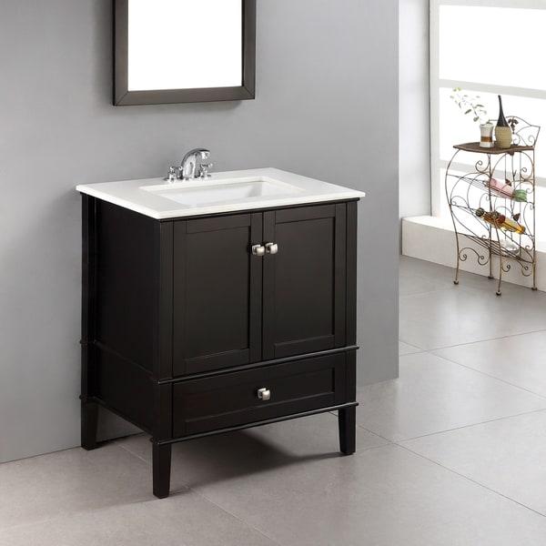 Shop Wyndenhall Windham Black 30 Inch 2 Door Bath Vanity Set With Bottom Drawer And White Quartz