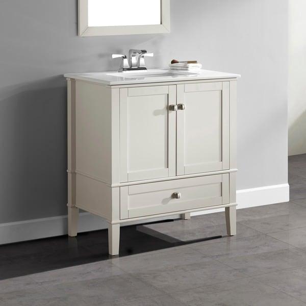 Wyndenhall Windham Soft White 2 Door 30 Inch Bath Vanity Set With Bottom Drawer