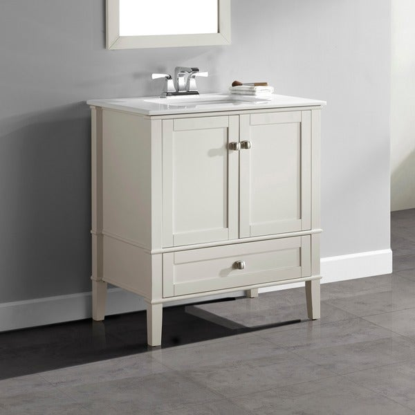 Shop Wyndenhall Windham Soft White 2 Door 30 Inch Bath Vanity Set With Bottom Drawer And White