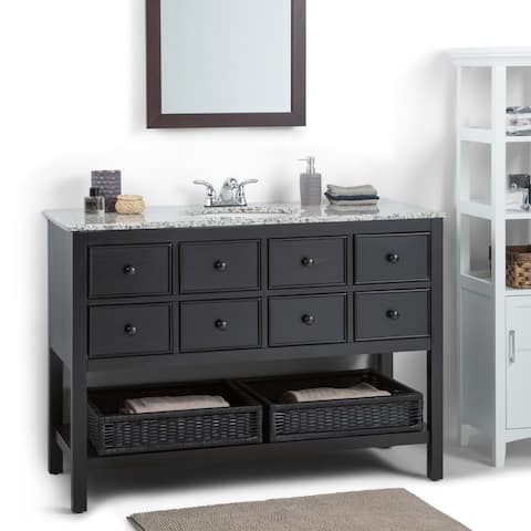 WYNDENHALL New Haven 48 inch Contemporary Bath Vanity in Espresso with Dappled Grey Granite Top