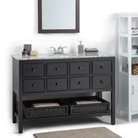 WYNDENHALL New Haven Espresso Brown 48-inch Bath Vanity with 2 Drawers and Dappled Grey Granite Top
