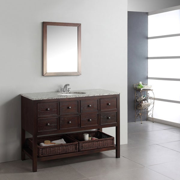 WYNDENHALL New Haven Walnut Brown 2-drawer 48-inch Bath Vanity Set with and Dappled Grey Granite Top