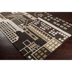 Hand-tufted Brown New York Ave Novelty Cityscape Wool Rug (3'3 x 5'3)