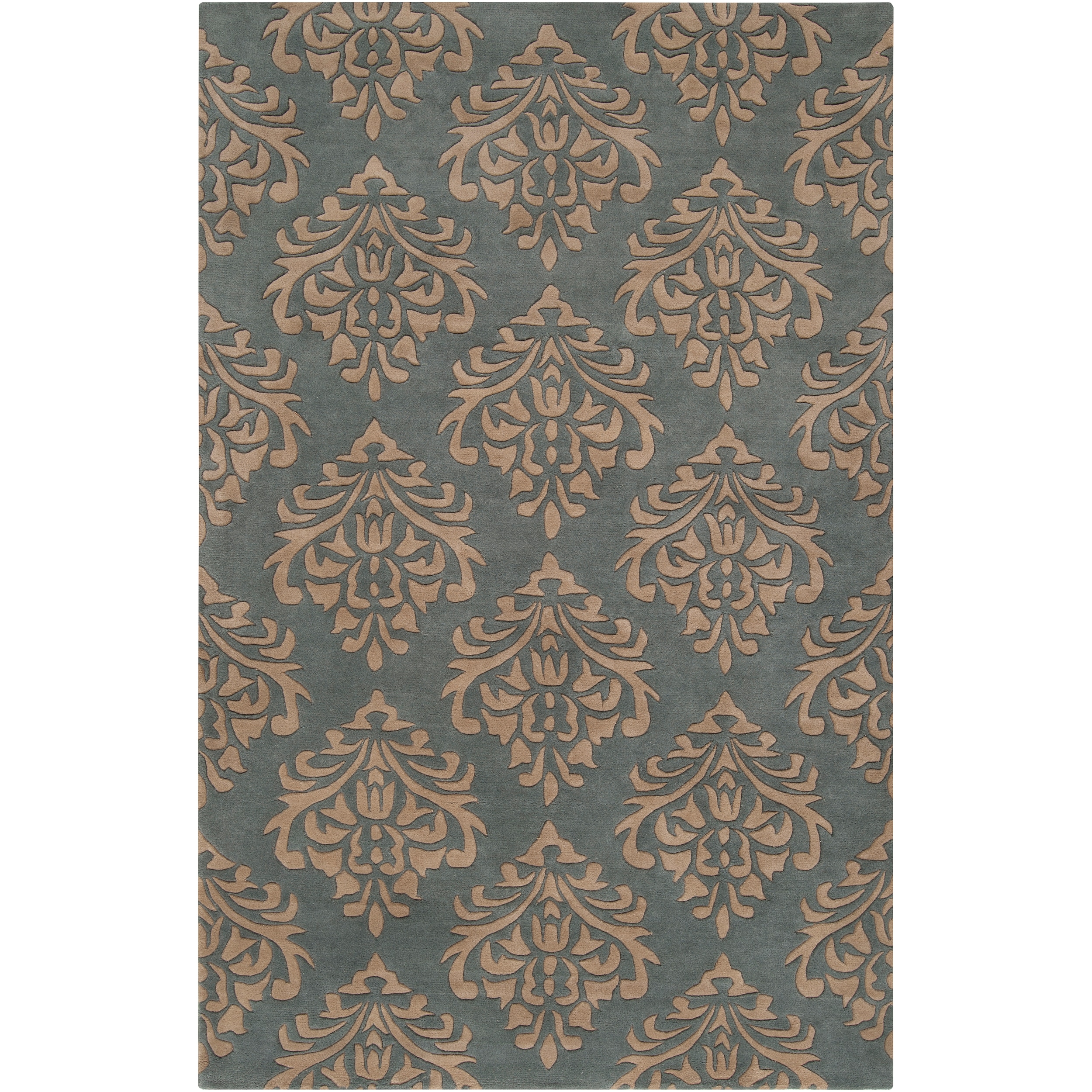 Hand-tufted Green New York Ave Damask Pattern Wool Rug (5' x 8')