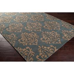 Hand-tufted Green New York Ave Damask Pattern Wool Rug (5' x 8') - Thumbnail 1