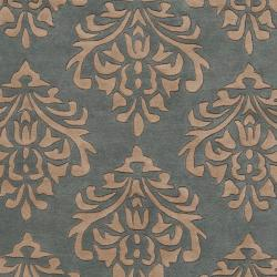 Hand-tufted Green New York Ave Damask Pattern Wool Rug (5' x 8') - Thumbnail 2
